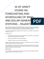ANALYSIS of DRAFT Regulations on Forecasting and Scheduling of Wind and Solar Generating Stations