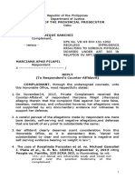 Reply Affidavit for Reckless Imprudence