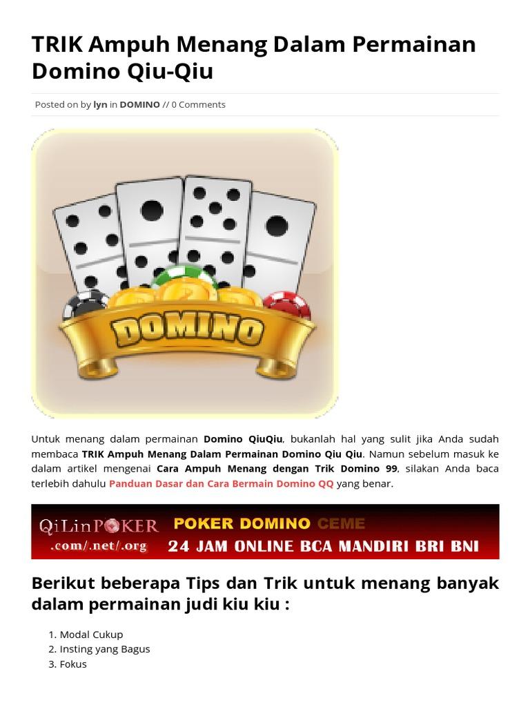Trik Ampuh Menang Dalam Permainan Domino Qiu Qiu