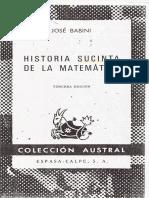 Historia Sucinta de la Matemática. José Babini.