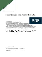 Como Eliminar El Virus Recycler de Tu USB y Pc