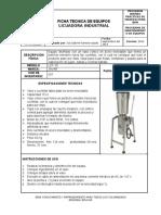 39178005 Ficha Tecnica de La Licuadora Industrial