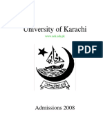 University of Karachi Admission form