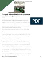 14-03-16 Entrega la Gobernadora Pavlovich recursos a escuelas de tiempo completo. -Critica