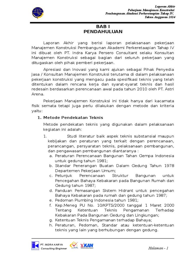 Laporan konsultan manajemen konstruksi