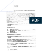 Letter to Minister of Finance of Thailand
