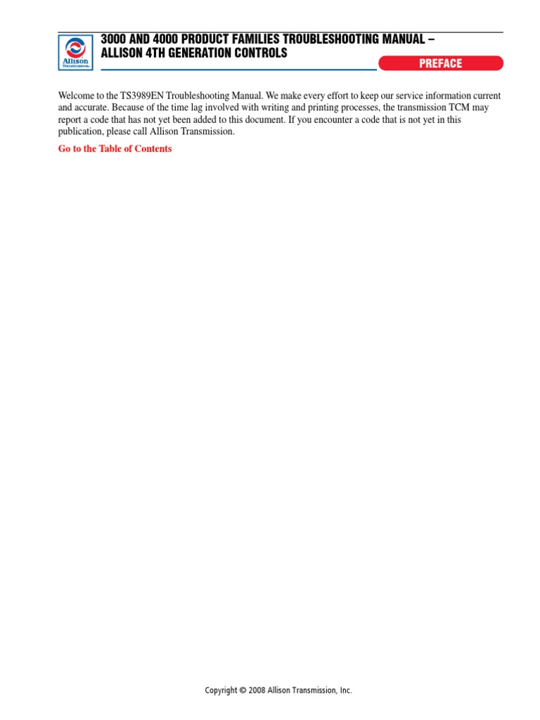 Allison 3000-4000 Series Troubleshooting   Manual Transmission