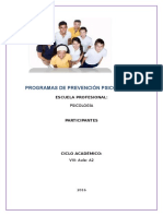 Programas de Prevención Psico Social - 2016