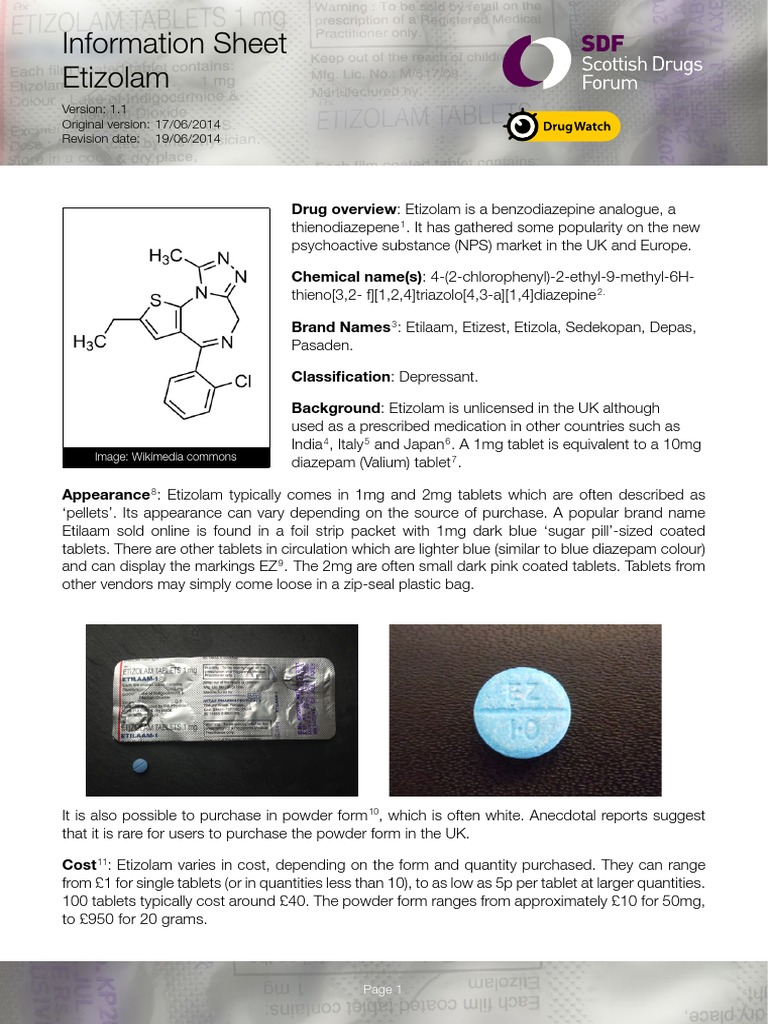 Etizolam Infosheet SDF DrugWatch1 1 | Benzodiazepine | Substance
