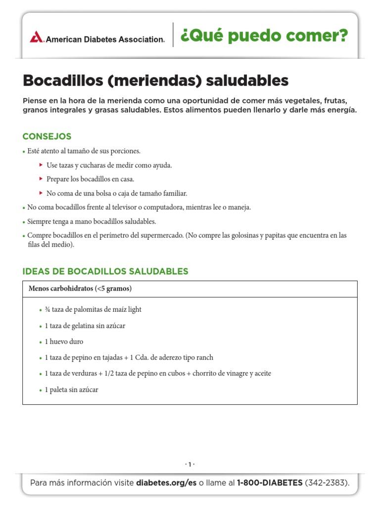 meriendas saludables para la diabetes pdf