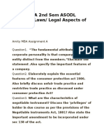 Amity MBA 2nd Sem ASODL Business Laws