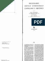 Diccionario Critico Etimologico Castellano C F Corominas Joan PDF