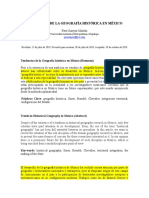 Tendencias de La Geografía Histórica en México