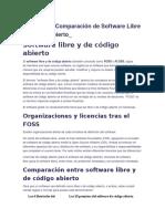 Concepto y Comparación de Software Libre y Código Abierto