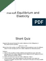 Market Equilibrium and Elasticity