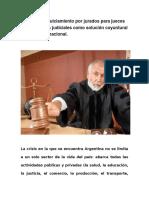 El Jury de Enjuiciamiento Por Jurados Para Jueces y Funcionarios Judiciales Como Solución Coyuntural Para La Crisis Nacional