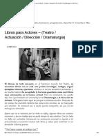Libros Para Actores – (Teatro _ Actuación _ Dirección _ Dramaturgia)
