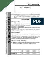Aits 2016 Ft II Jeem Jeea Main Questions Paper