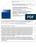 Intellectual History of the Weimar Republic – Recent Research