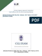 (Detailed Solutions) SSC CGL (Tier - II) Exam - 2015 _held on 25-10-2015_ (Quantitative Ability) _ SSC PORTAL _ SSC CGL, CHSL, Exams Community