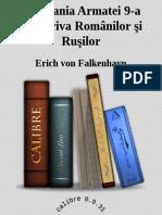Campania Armatei 9-A Impotriva Romanilor - Erich Von Falkenhayn