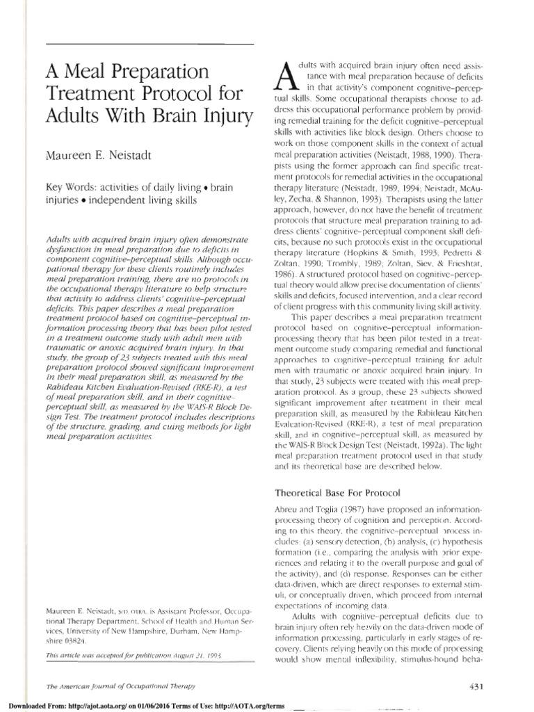 rabideau kitchen eval ajot | Traumatic Brain Injury | Occupational