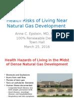 Health Risks of Living Near Natural Gas Development