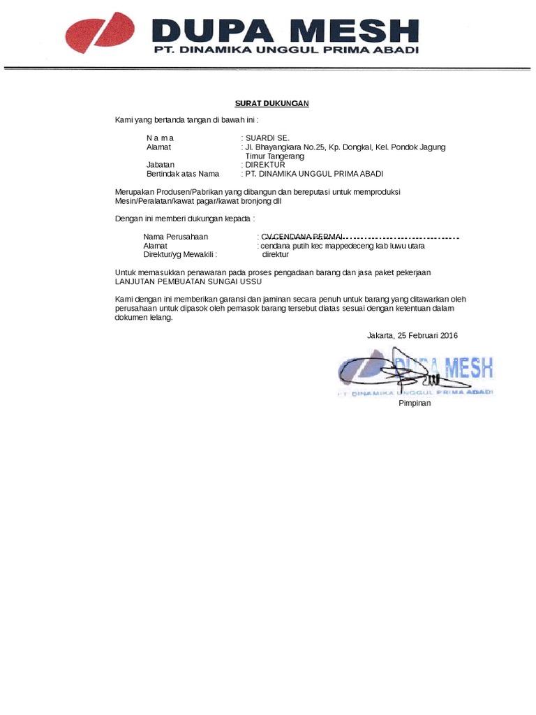 Surat Dukungan Pabrik