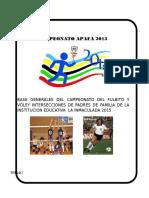 Base Generales Del Camplonato Del Fulbito y Vóley Intersecciones Ded Padres de Familia de La Institución Educativa La Inmaculada 2015