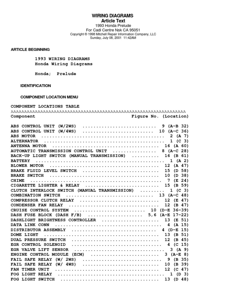 92 96 prelude wiring diagramsHonda Prelude 1998 Wiring Diagram #3