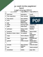 Daftar Lagu Wajib Lomba Pagelaran Band SMA