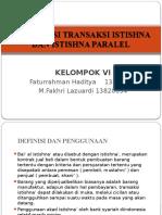 Akuntansi Transaksi Istishna dan Istishna Paralel