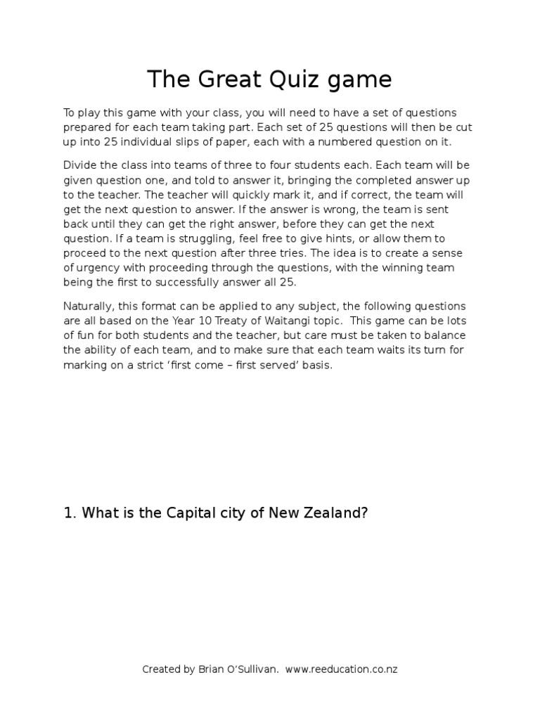 The Great Quiz Game Waitangi | Māori People | New Zealand