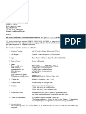 Demand Letter And Employment Letter Overtime Employment