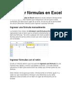 Ingresar Fórmulas en Excel