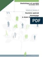 Statistique Et Société - Hommage à Alain Desrosières (1)
