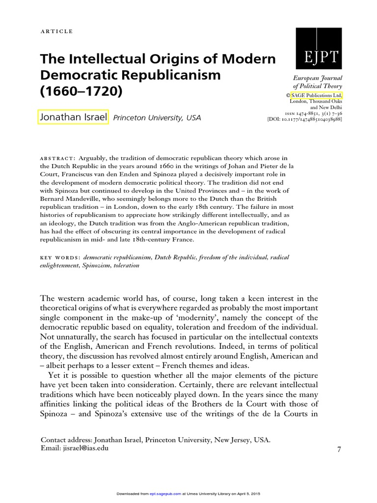 israel - the intellectual origins of modern democratic republicanism