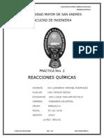 Inf. Practica 2 - Reacciones Químicas