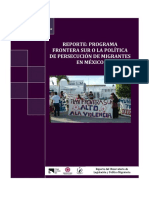 Reporte Plan Frontera Sur o la política de persecusión del migrante
