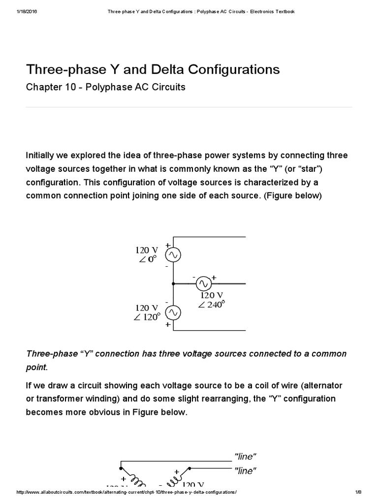 Three Phase Y And Delta Configurations Polyphase Ac Circuits Connect The Series Circuit As Shown In Figure Below Using 10 Electronics Textbook Voltage Alternating Current