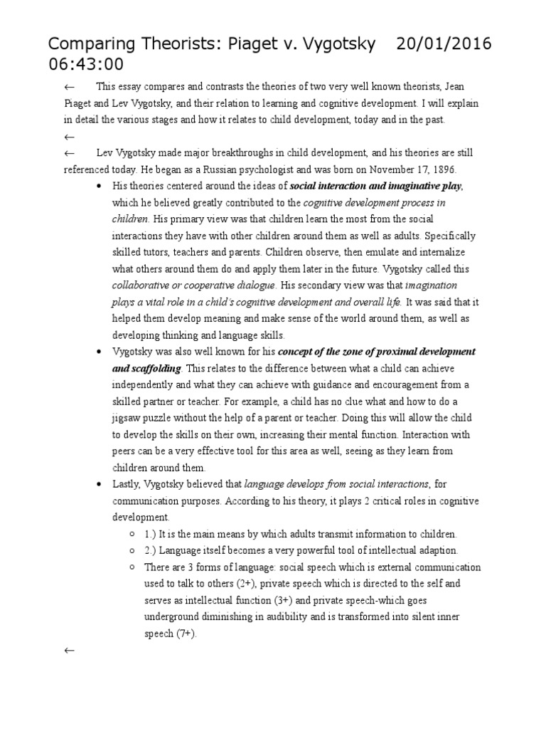 Piaget essay