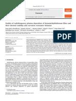 Studies of Radiofrequency Plasma Deposition of Hexamethyldisiloxane Films And