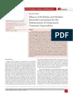 Efficacy of Probiotic and Nitrifier Bacterial Consortium for the Enhancement of Litopenaeus Vannamei Aquaculture