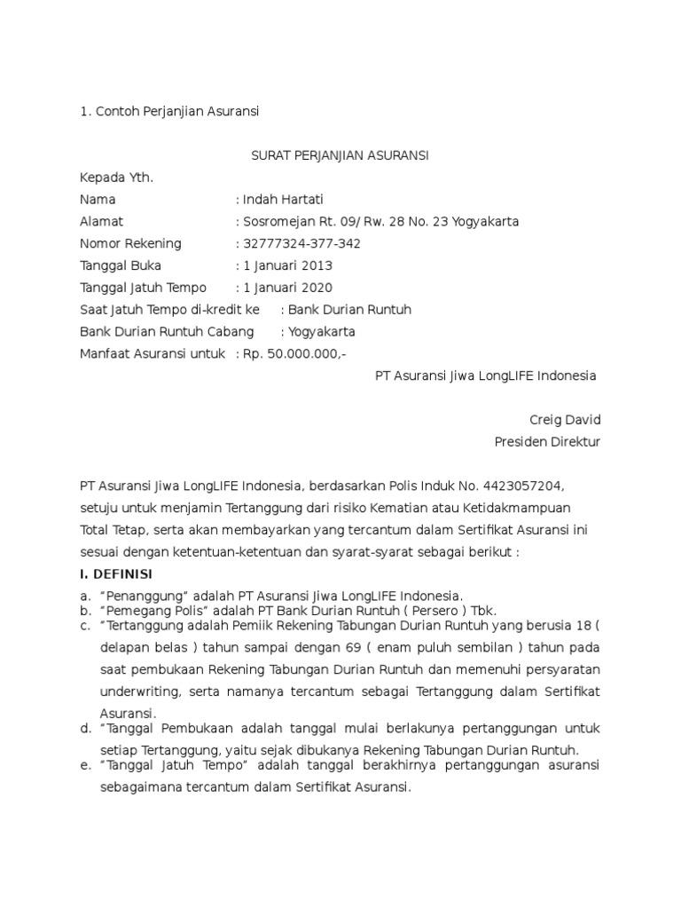 Contoh Surat Perjanjian Asuransi Contoh Surat