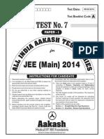 JEE Main 2014_Test 7 (Paper I) Code A