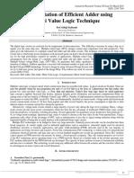 IMPLEMENTATION OF EFFICIENT ADDER USING MULTI VALUE LOGIC TECHNIQUE