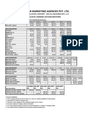 Price List of Sudhakar Cpvc Pipes and Fittings