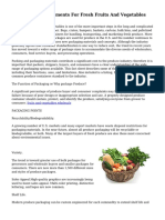 Packaging Requirements For Fresh Fruits And Vegetables