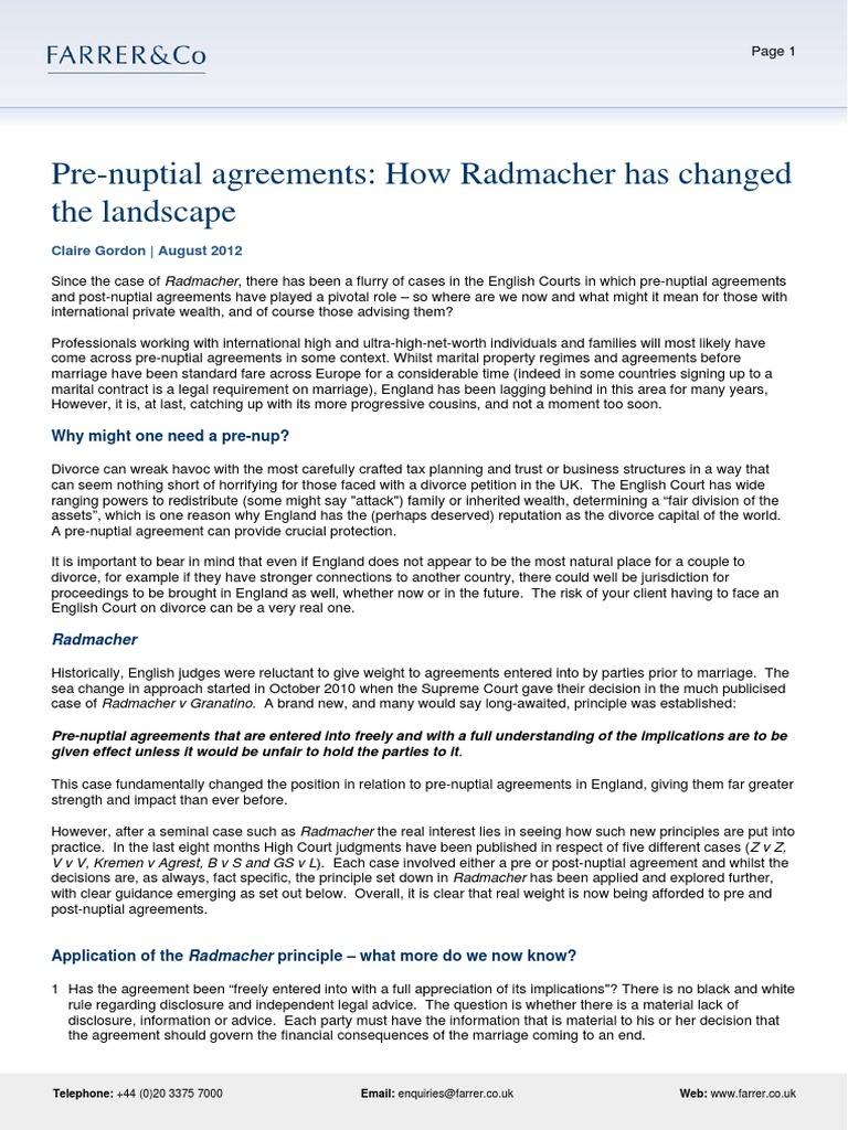 Pre Nuptial Agreementshow Radmacher Has Changed The Landscape