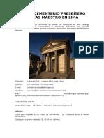 Museo Cementerio Presbítero Matías Maestro en Lima